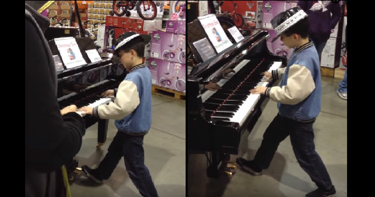 piano1 - Boy Makes His Way To A Piano In Costco. All Shoppers Stops to Hear This Musical Whiz Play.