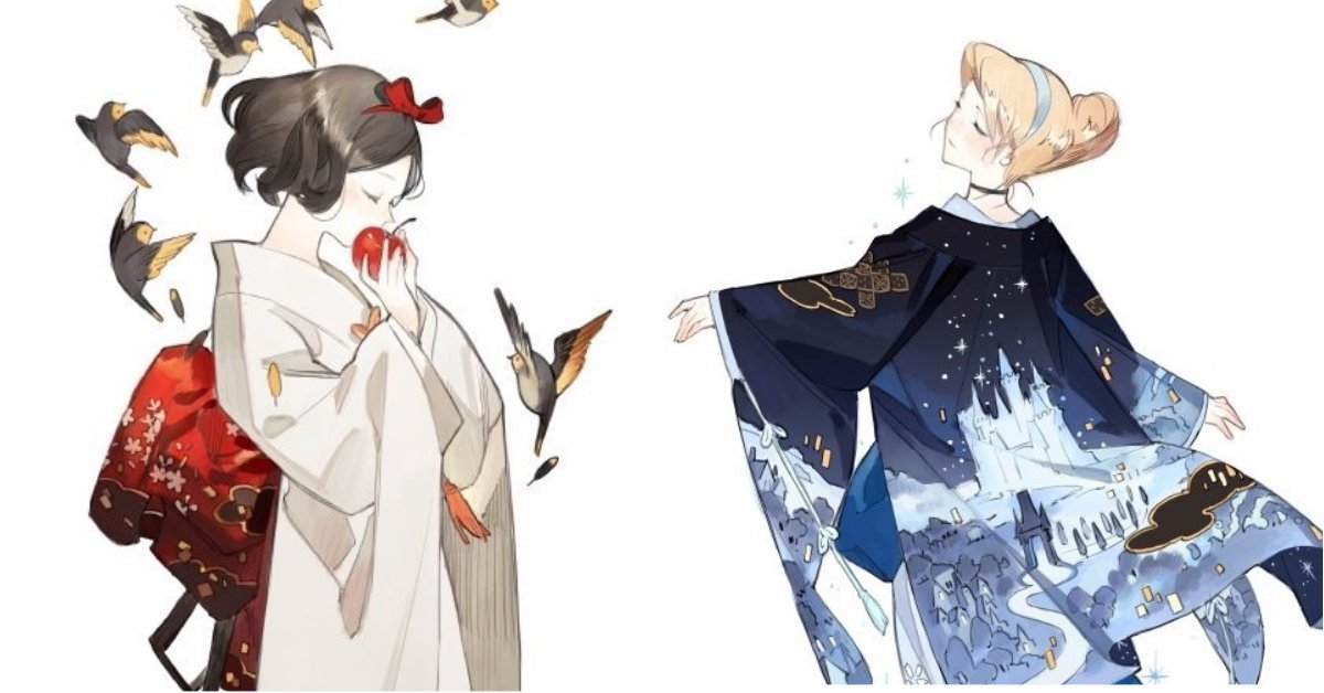 po3 58282 1506331893.jpg?resize=1200,630 - 和服版的迪士尼公主美到逆天!藝術家將公主們的穿著重新設計,白雪公主根本是仙女下凡啊!
