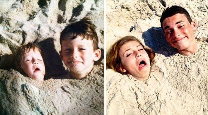recreation childhood photos before after 22.jpg?resize=1200,630 - As 21 mais divertidas versões novas de fotos de família