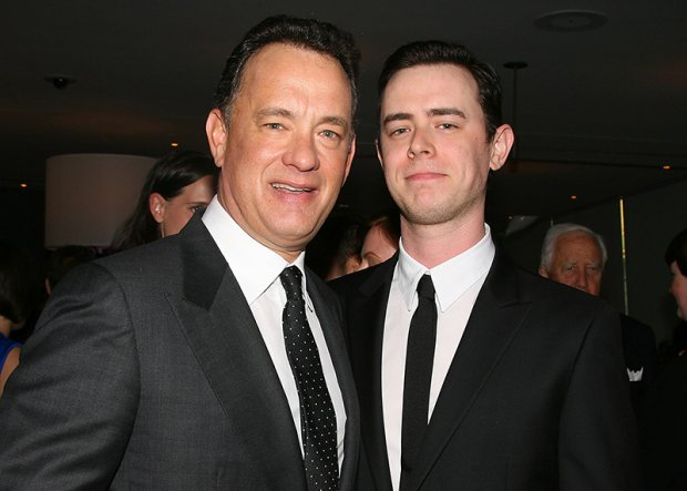"Mandatory Credit: Photo by Startraks Photo/REX Shutterstock (915677ar) Tom Hanks and Colin Hanks The 36th Film Society Of Lincoln Center's Gala Tribute Honoring Tom Hanks at Alice Tully Hall, New York, America - 27 Apr 2009 Oscar winner Tom Hanks has been honoured at the Film Society's 36th Annual Gala in New York. The star, who is known as being Hollywood's ""Mr Nice Guy"", was awarded with the society's Chaplin Prize. This award is named after its first recipient, silent-film legend Charlie Chaplin, who, in 1972, returned to the US from exile to accept the commendation. Previous winners have also included Alfred Hitchcock, Billy Wilder, Laurence Olivier, Federico Fellini, Elizabeth Taylor and Meryl Streep. A host of Hollywood stars were on hand to see Hanks collect his award today, including his wife Rita Wilson, Julia Roberts, Charlize Theron, Steven Spielberg and Bruce Springsteen. The evening also featured tributes by writer/director Nora Ephron, actress Sally Field, director Ron Howard and writer/director Mike Nichols."