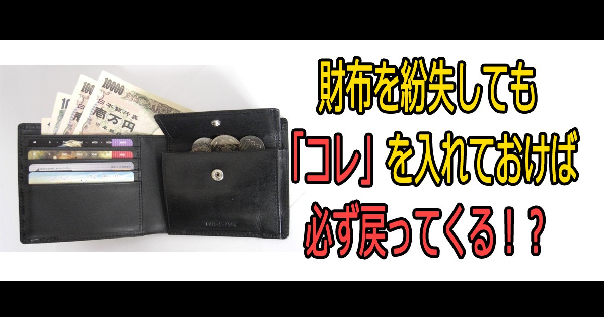 saihu th.png?resize=1200,630 - 財布を紛失しても「コレ」を入れておけば必ず戻ってくる!?