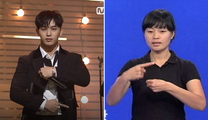 (좌) Mnet '엠카운트다운', (우) '1년'을 표현한 수화 / 국립국어원 한국수어사전