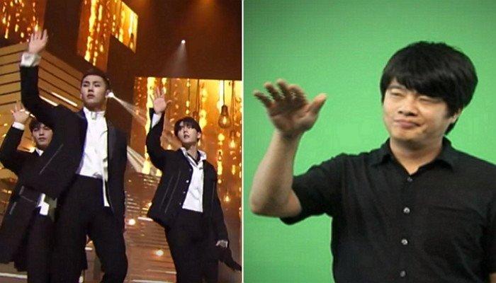 (좌) Mnet '엠카운트다운', (우) '그리워하다'를 표현한 수화 / 국립국어원 한국수어사전