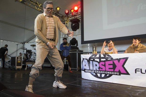 Air Sex Championship contestants compete during Day 3 of Fun Fun Fun Fest at Auditorium Shores