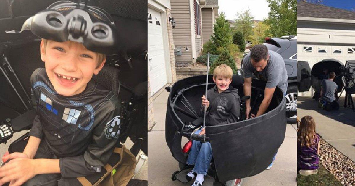 aaaaaaa 7 - For Halloween He Transformed The Boy's Wheelchair Into A Full-blown Star Wars Ship