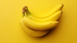 Bananas on a yellow background.