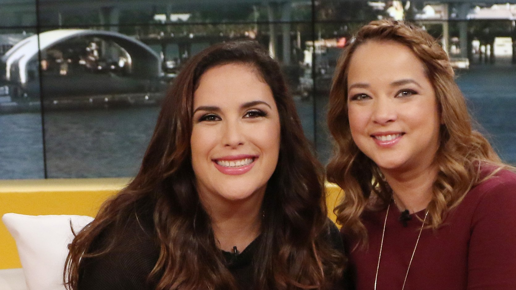 "MIAMI, FL - OCTOBER 27: Angelica Vale and Adamari Lopez are seen on the set of ""Un Nuevo Dia"" at Telemundo Studios on October 27, 2015 in Miami, Florida. (Photo by Alexander Tamargo/Getty Images)"