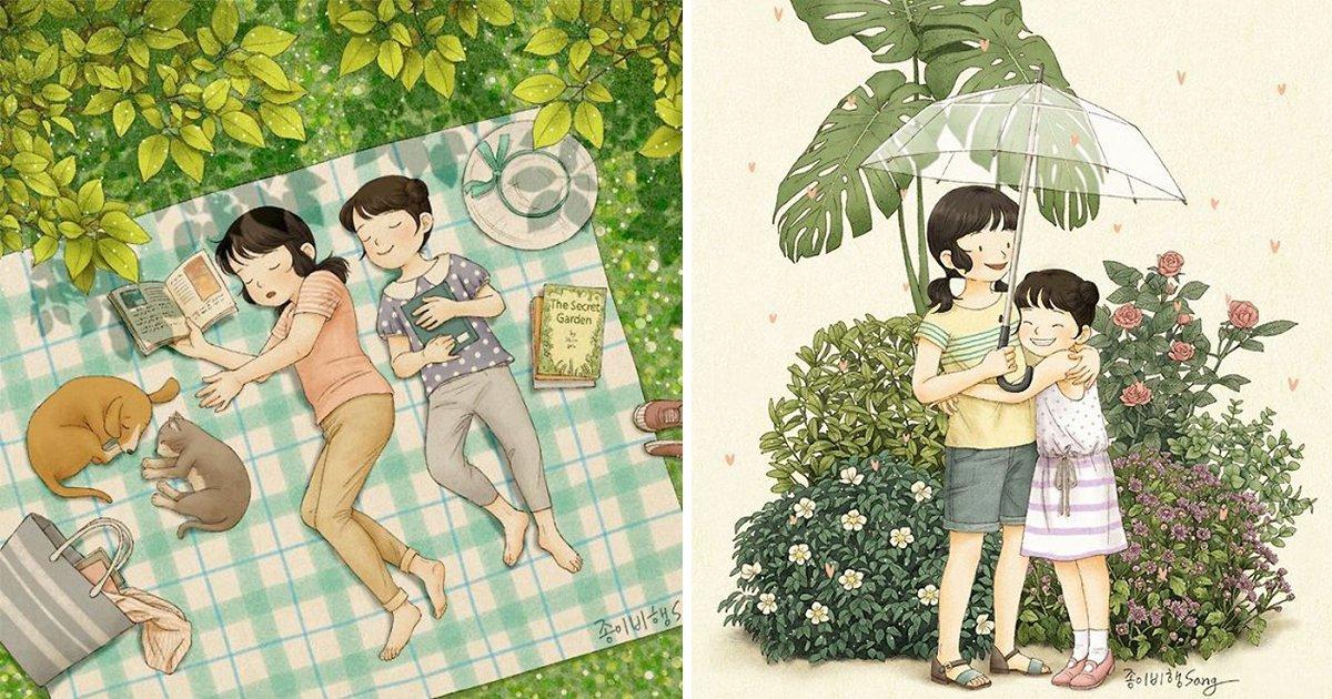article thumbnail 13.jpg?resize=1200,630 - 어린시절 추억이 떠오르는 '자매' 모습을 담은 일러스트 작품(+20)