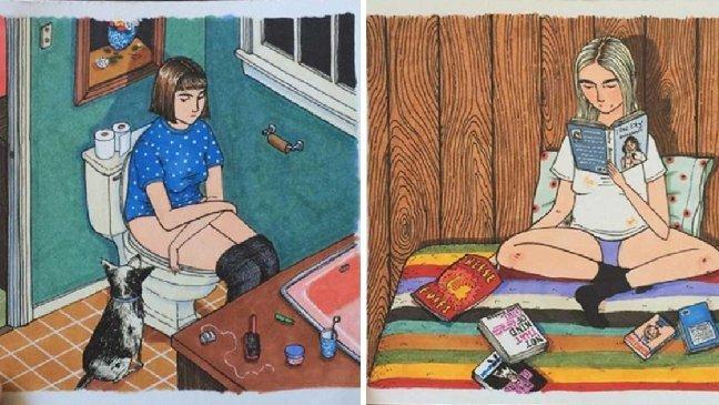 article thumbnail 21 1.jpg?resize=1200,630 - 男生們不知道的事!美國插畫家筆下一些女生們獨自在家的秘密小樂趣!