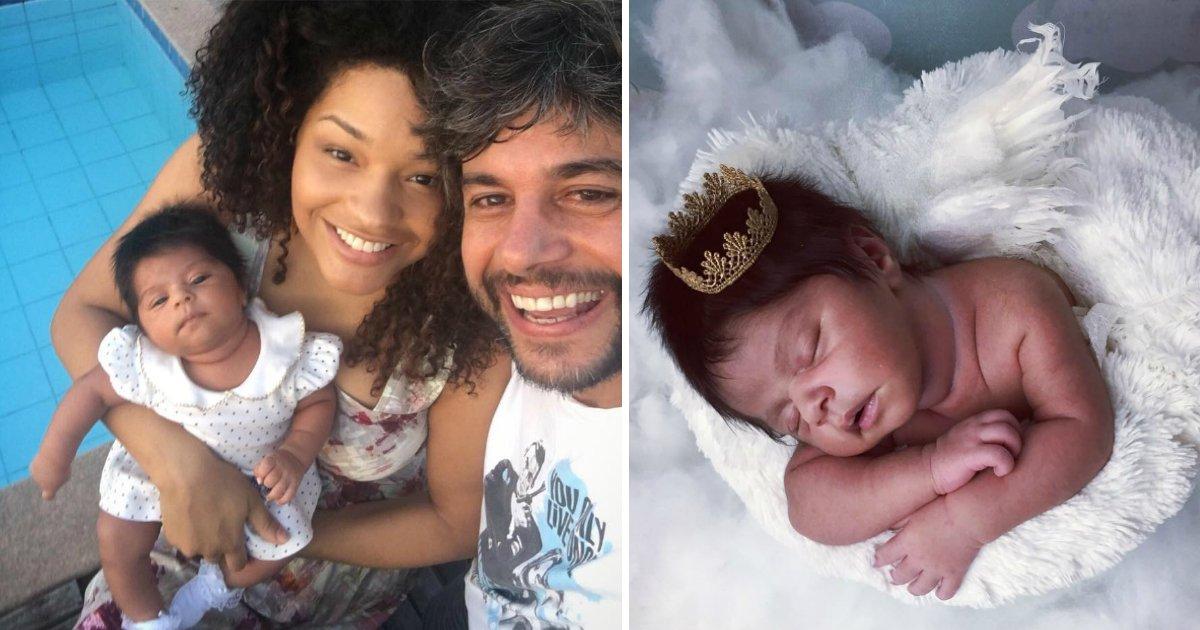 bebecabelofin - A bebê da atriz Juliana Alves encanta pelas fartas madeixas. Por que alguns bebês nascem assim?