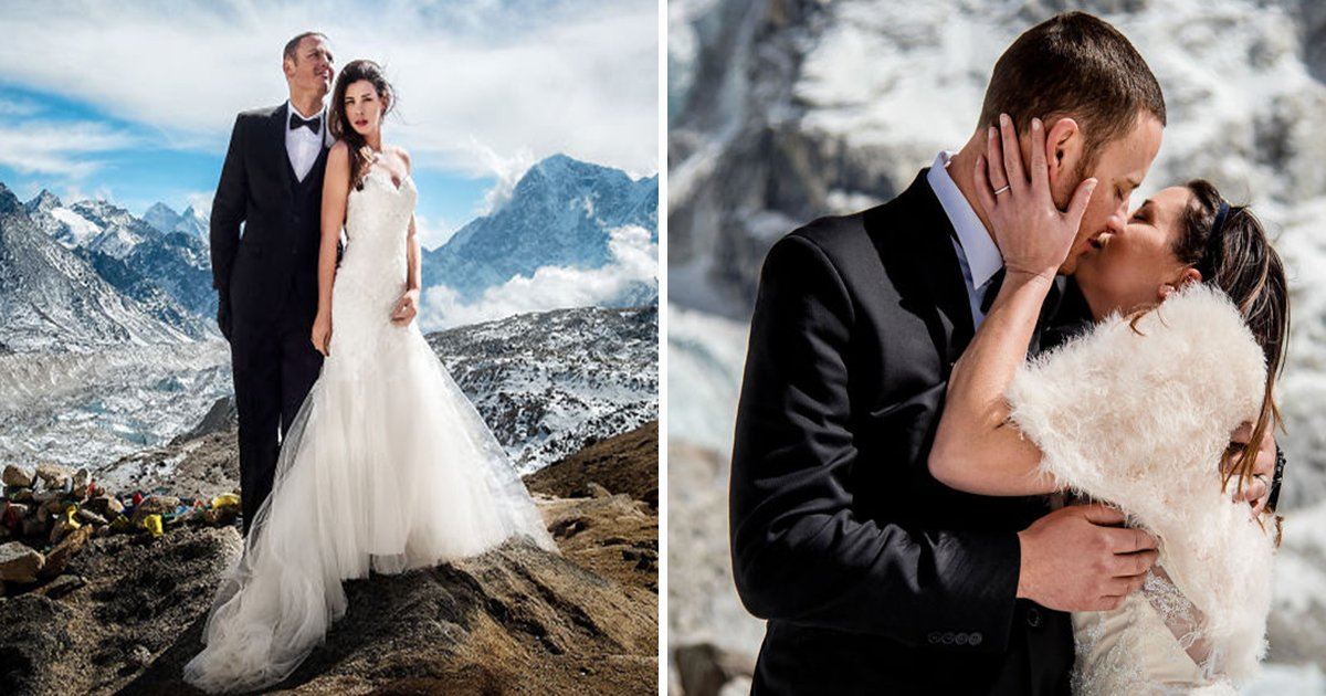 ec8db8eb84ac ebb3b5eab5aceb90a8 ebb3b5eab5aceb90a8 13 - Couple Tie The Knot On Mount Everest, After Walking For 3-Weeks and Their Wedding Snaps Are Epic