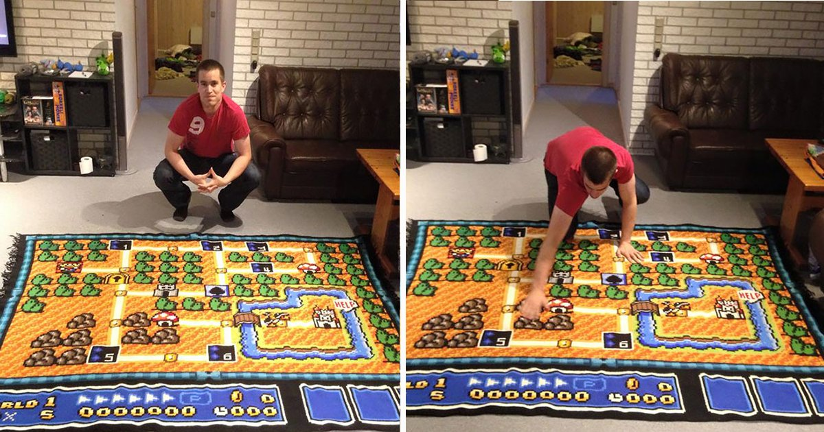 ec8db8eb84ac ebb3b5eab5aceb90a8 ebb3b5eab5aceb90a8 17.jpg?resize=412,232 - It Took This Man 6 Years To Crotchet a Super Mario Bros Map Blanket