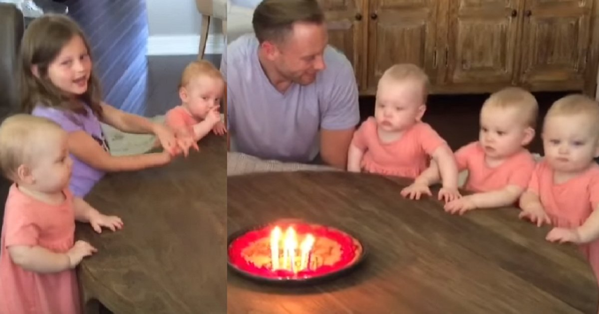 eca09cebaaa9 ec9786ec9d8c 68 - Daughters Sing Happy Birthday, Dad Blows The Candles, And Their Reaction Is Priceless
