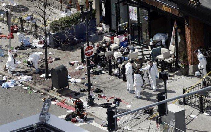 보스턴 마라톤 폭탄 테러 사건 현장/한국일보