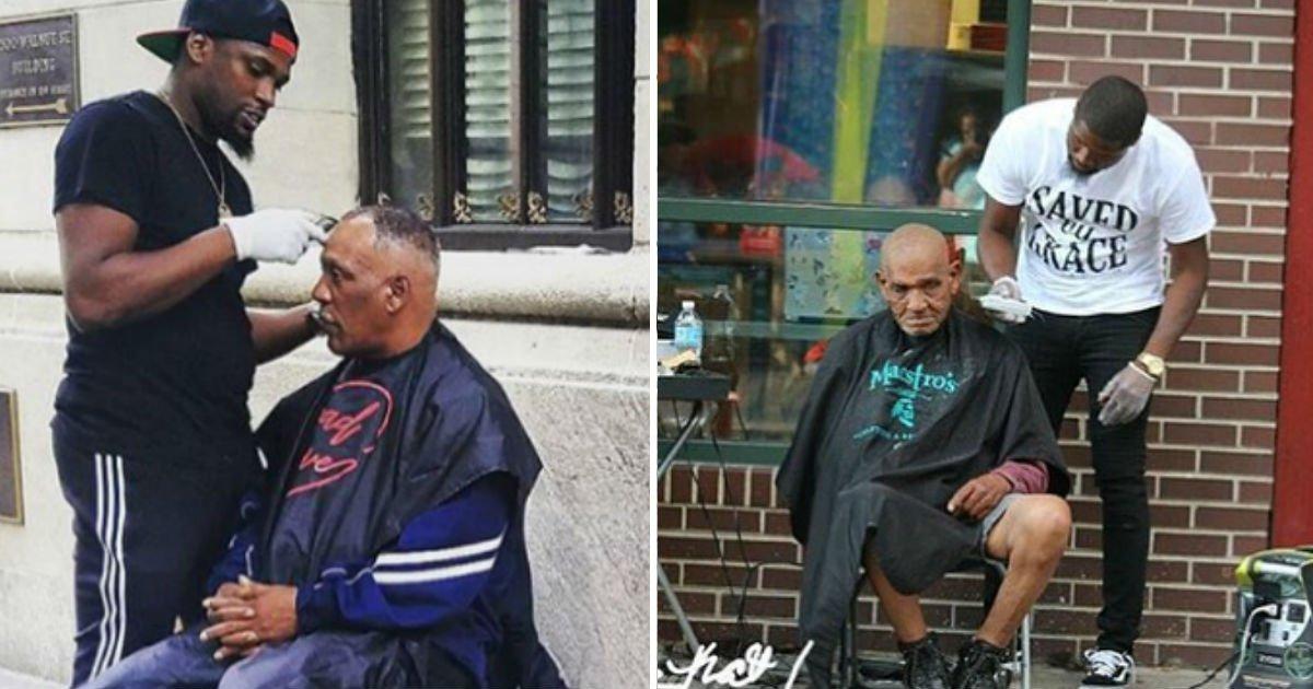 haircutfin 2.jpg?resize=1200,630 - Homem que corta de graça cabelos de moradores de rua ganha barbearia