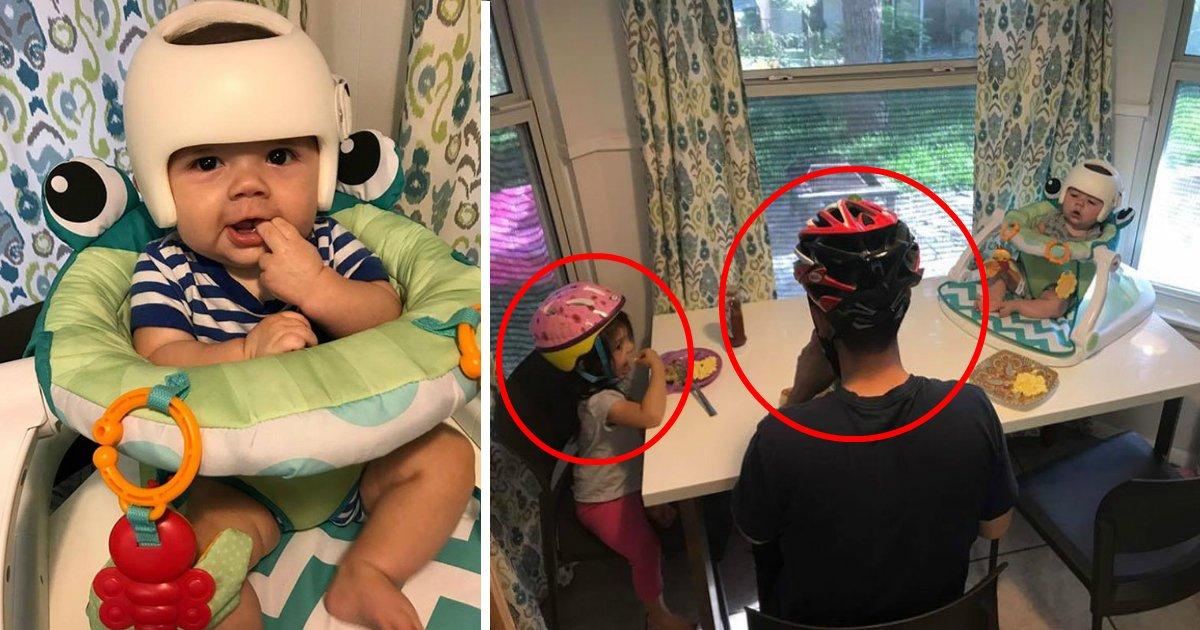 helmatfin.jpg?resize=412,232 - Família usa capacetes de bicicleta para bebê não se sentir excluído