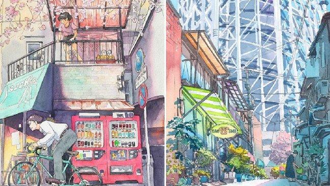 img 59f9faf34a8f8.png?resize=1200,630 - ポーランドの画家が水彩画で仕上げた東京の日常のイラスト(25)