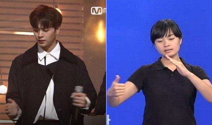 (좌) Mnet '엠카운트다운', (우) '지니가다'를 표현한 수화 / 국립국어원 한국수어사전