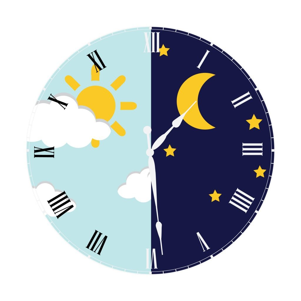 44024242 - clock with day night concept clock face vector illustration. blue sky with clouds and sun. moon and stars in the night