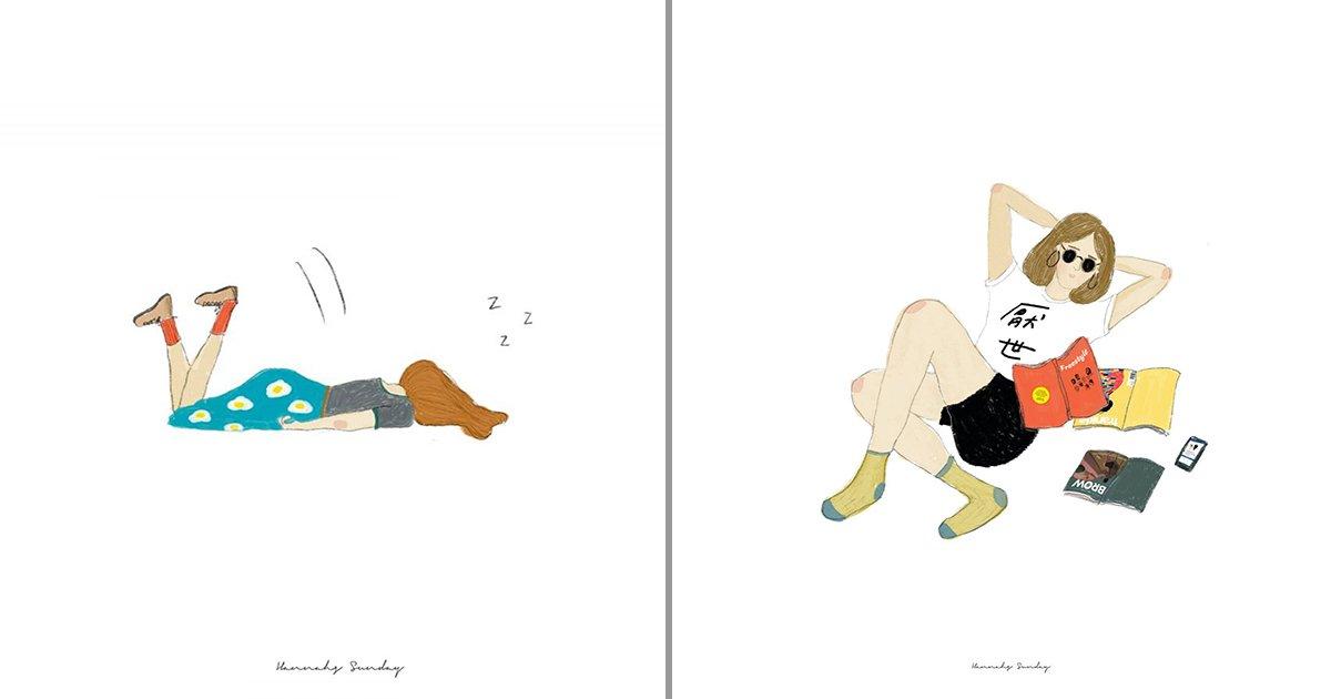 1 93.jpg?resize=1200,630 - 微醺系插畫幽默描繪你我日常:在哪跌倒,就在哪躺好