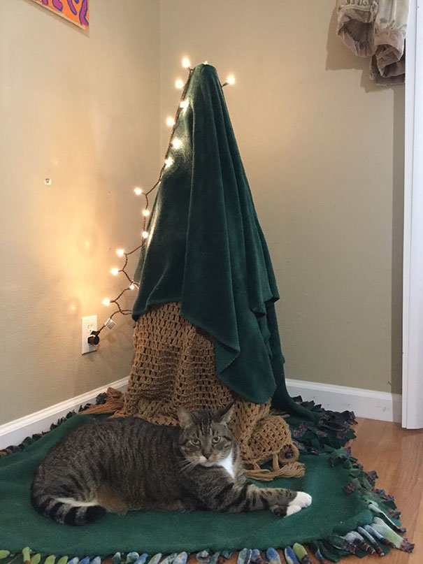 protecting christmas tree from dogs cats pets 29 585a8c70147b3  605 - 30 Clever People Found A Way To Keep Their Christmas Tree Safe From Curious Animals