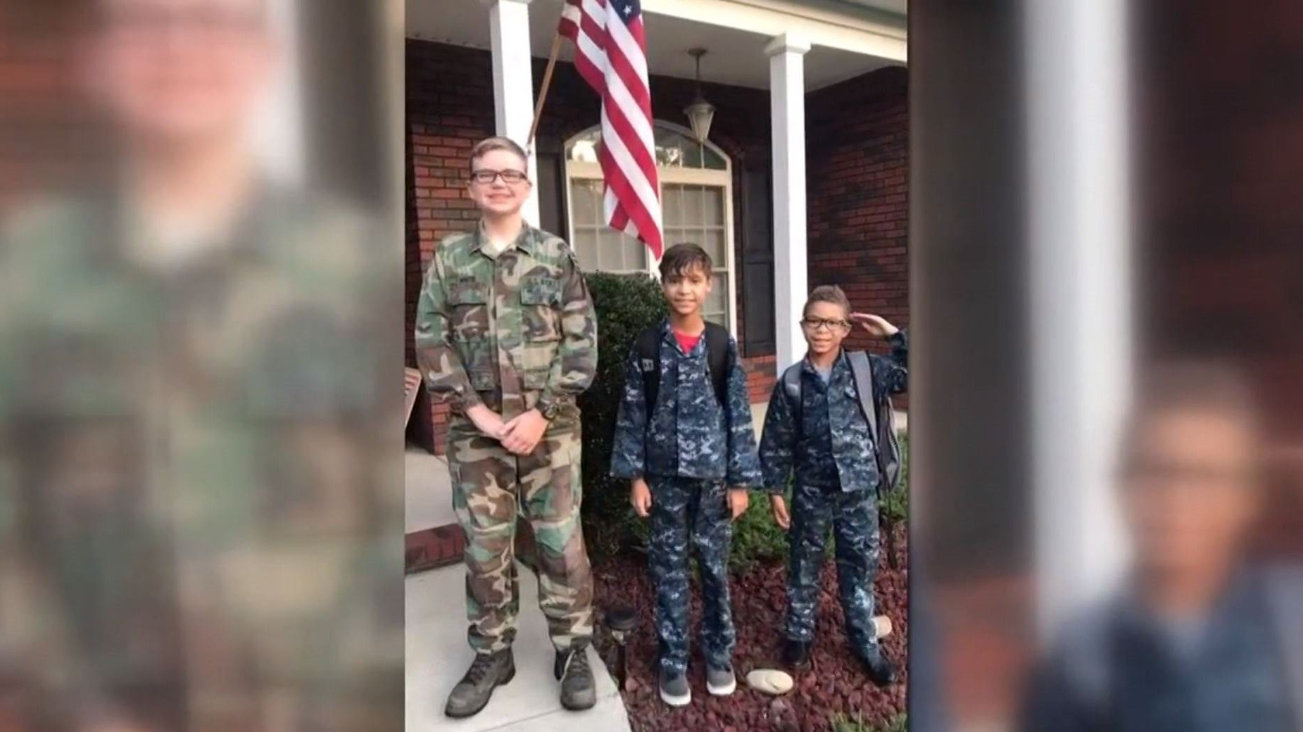 boy gets bullied for wearing brothers navy uniform - Boy gets bullied for wearing brother's Navy uniform to School. So Big Brother Drives 7 Hours To Surprise Him