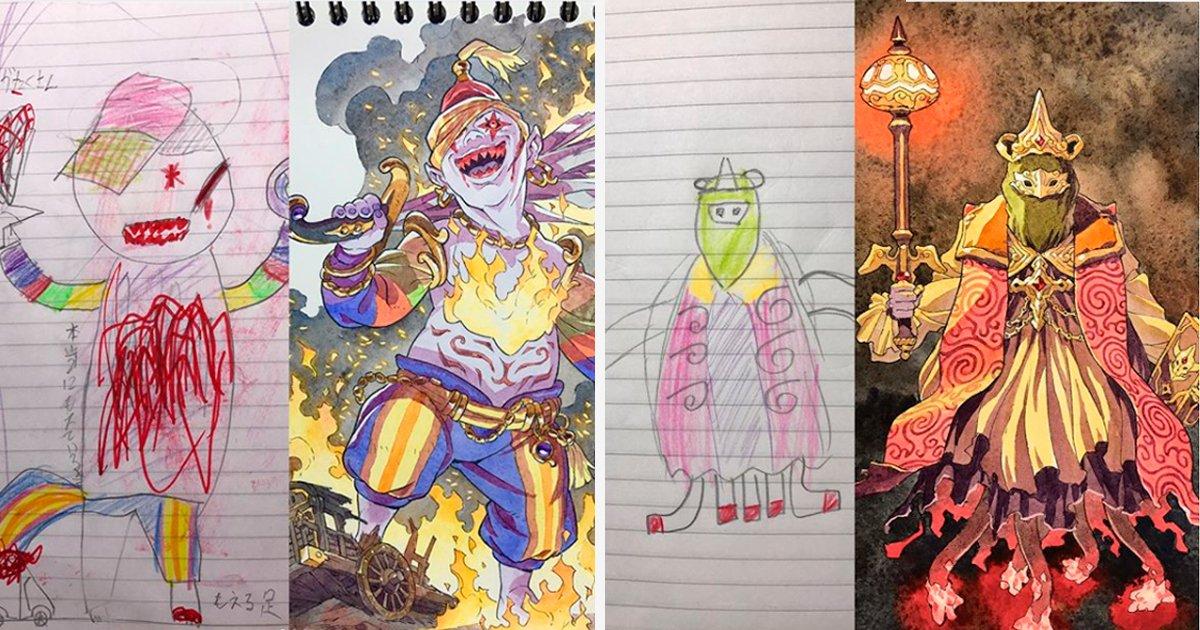 covr43 1.jpg?resize=1200,630 - Artista de anime usa os desenhos de seu filho como inspiração no trabalho