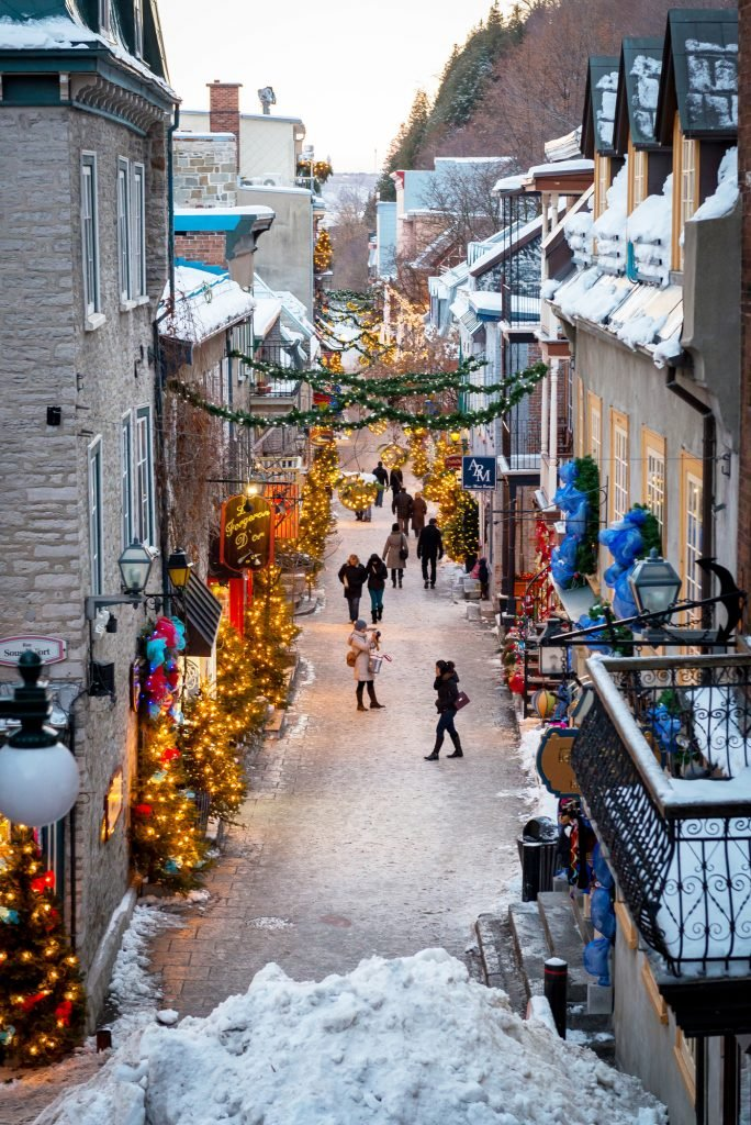Above view of Petit Champlain in Quebec City, Canada