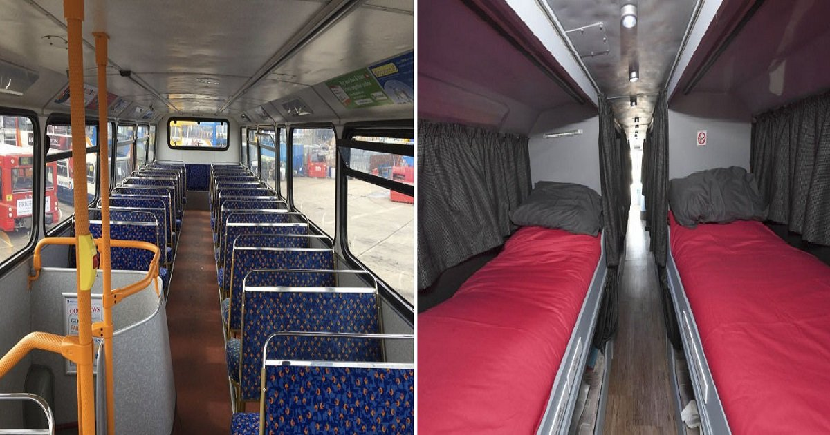 double decker bus homeless shelter 2 1.jpg?resize=412,232 - Two Women Converted A Double-Decker Bus Into A Shelter For The Homeless