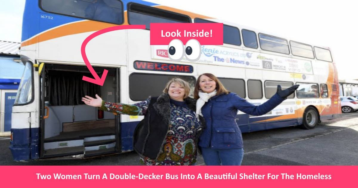 doubledeckerbus.jpg?resize=1200,630 - Two Women Transformed A Double-Decker Bus Into A Beautiful Shelter For The Homeless