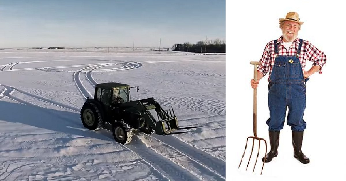 drivingtractor 1 - Farmer Creates Incredible Snow Art With Tractor, And Sends Message To Everyone