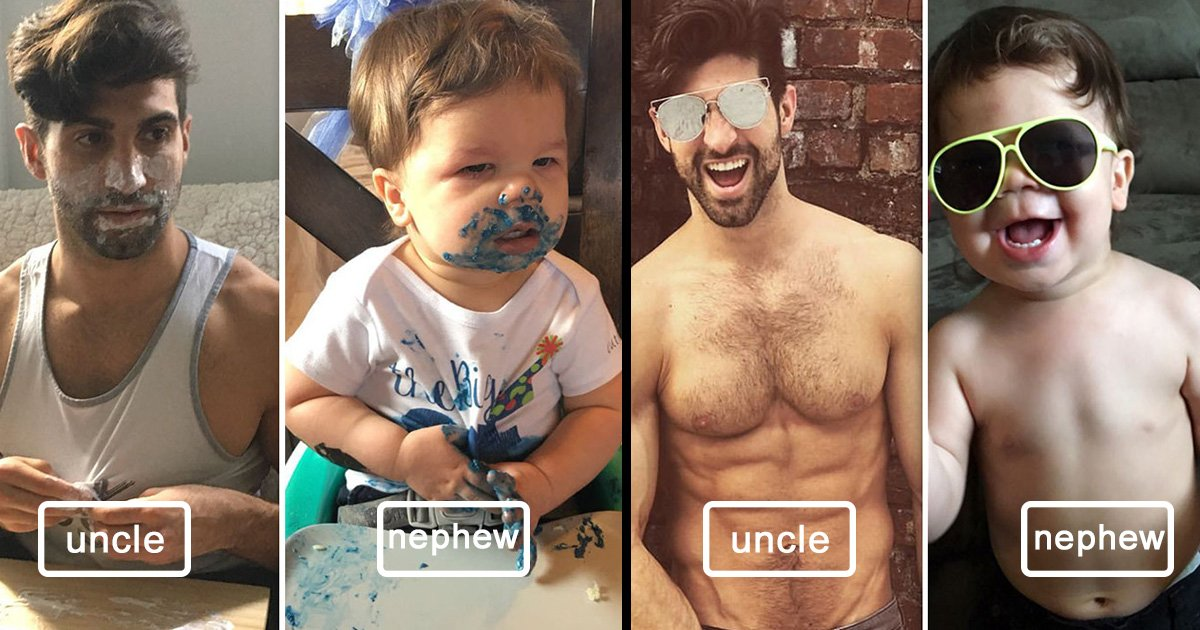 ec8db8eb84ac1 2 - Adorable 18-Month-Old Toddler Recreates His Model Uncle's Poses, Results Are Hilarious