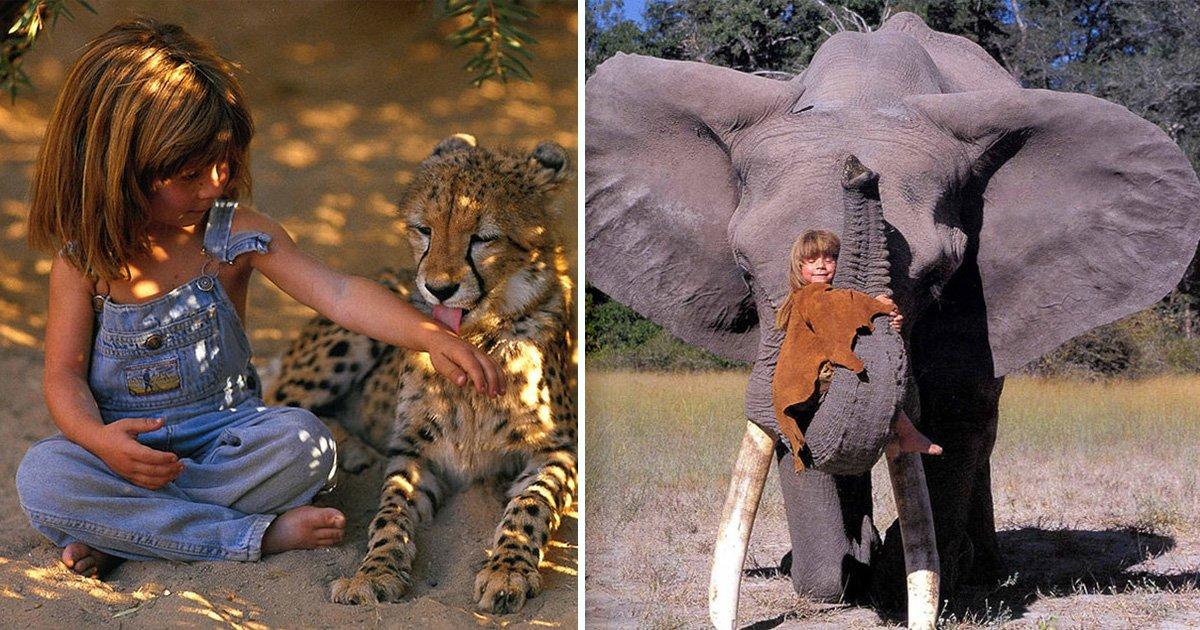 ec8db8eb84ac5 2 - Menininha é fotografada junto a animais selvagens - anos depois, as fotos viralizam