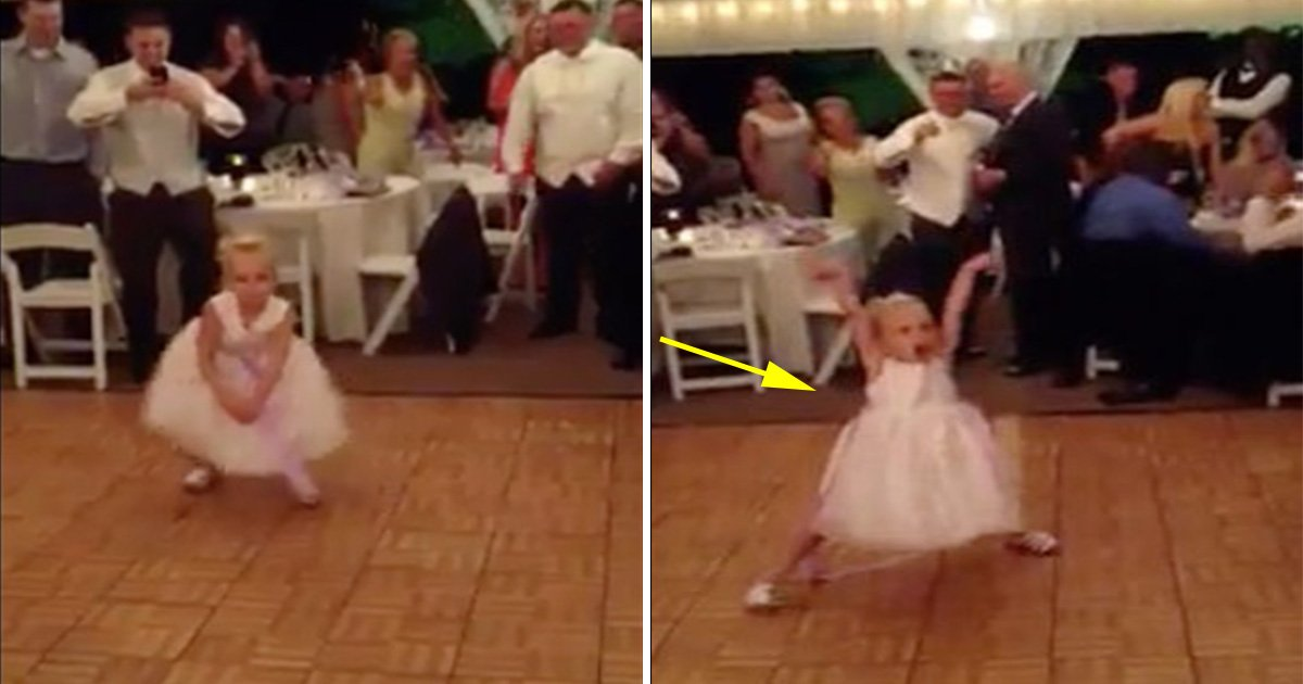 ec8db8eb84ac7 3 - This Young Flower Girl Dances At A Wedding Reception: Her Moves And Energy Levels Leave The Crowd In Stitches