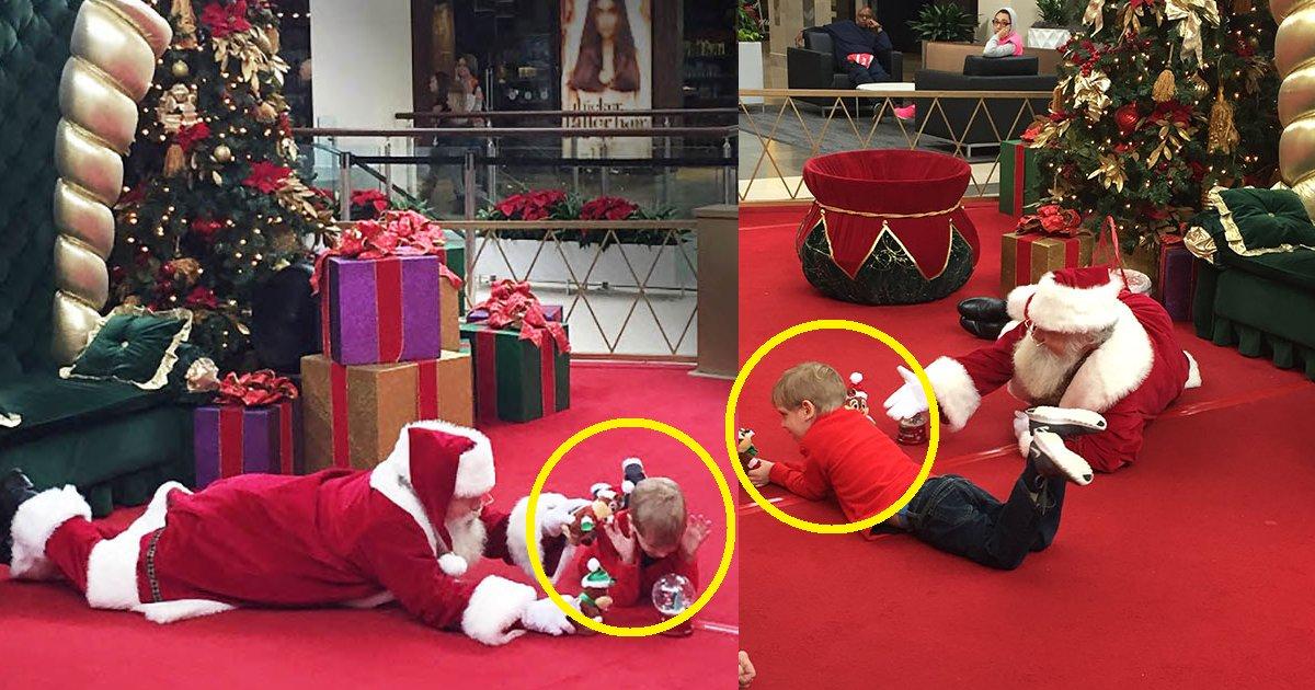 eca09cebaaa9 ec9786ec9d8c 93.png?resize=1200,630 - Papai Noel deita no chão para se comunicar com criança autista e a família fica muito grata