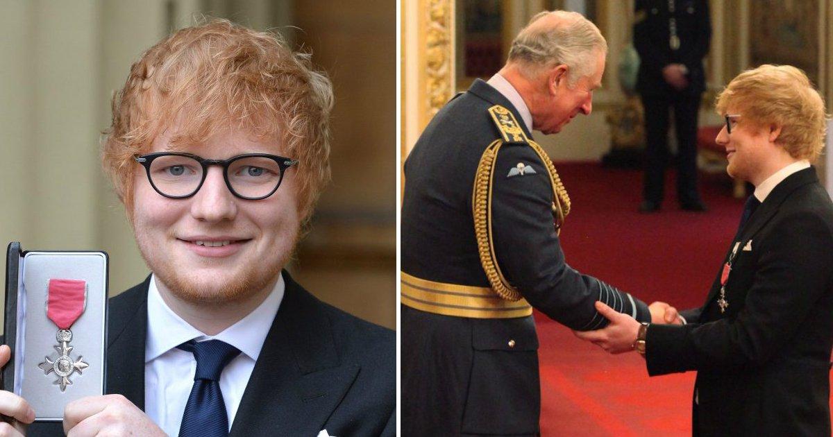 ed.jpg?resize=1200,630 - Ed Sheeran realiza sonho do avô ao receber medalha da realeza