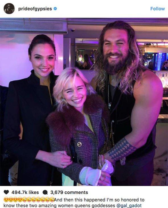 emilia clarke and jason momoa Game of Thrones season 8 Daenerys Targaryen Emilia Clarke Jason Momoa Instagram 1119798 - 'Game Of Thrones' Emilia Clarke Reunited With Jason Momoa