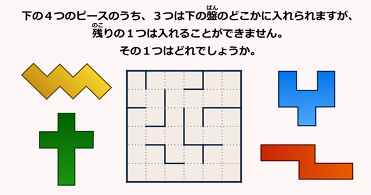 img 5a3a802cbe358.png?resize=1200,630 - 【Quiz】4つのピースのうち、盤の中に入らないのは?