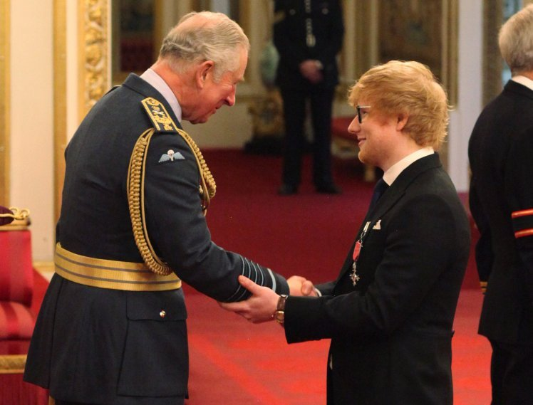 Ed Sheeran from London is made an MBE (Member of the Order of the British Empire) by the Prince of Wales at an Investiture ceremony at Buckingham Palace, London. PRESS ASSOCIATION Photo. Picture date: Thursday December 7, 2017. See PA story ROYAL Investiture. Photo credit should read: Yui Mok/PA Wire