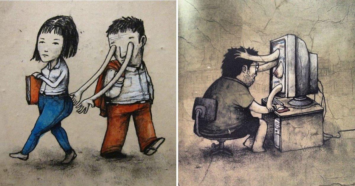 qewrqwer2.jpg?resize=300,169 - 귀여운 그림으로 사회를 비판하는 길거리 예술가의 그림 20개