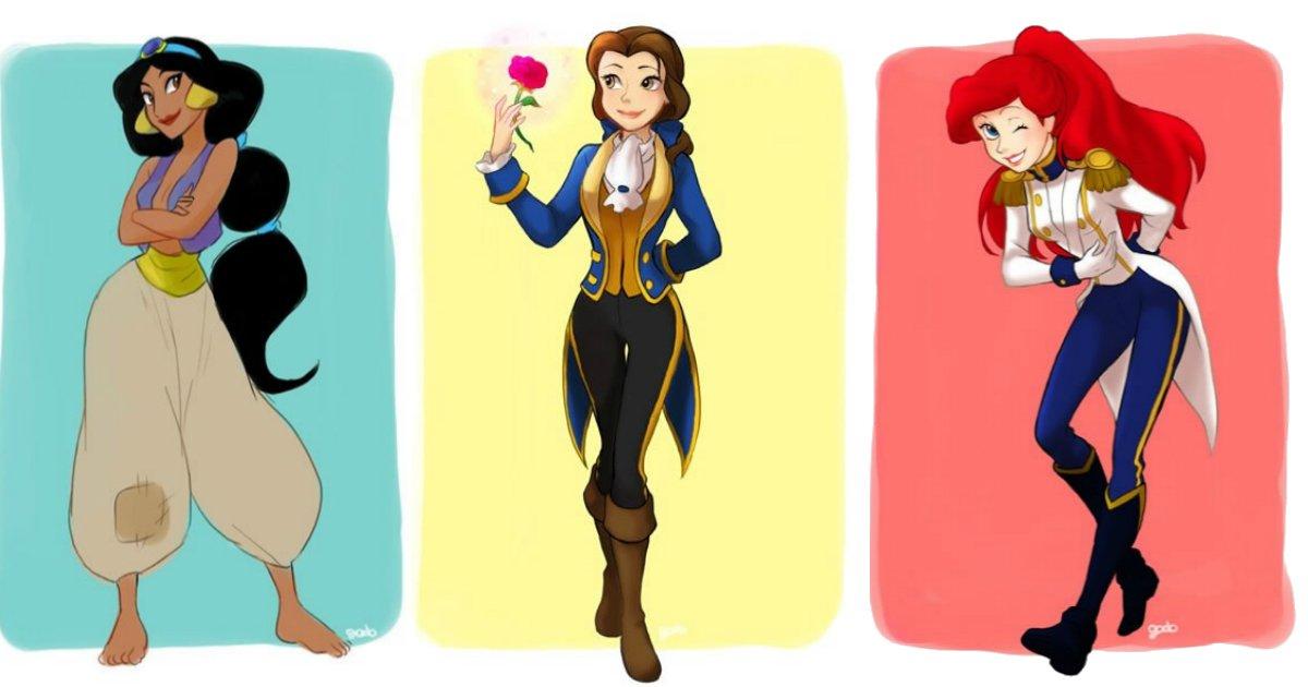 roupahomen.jpg?resize=412,232 - As princesas Disney vestidas com as roupas de seus companheiros