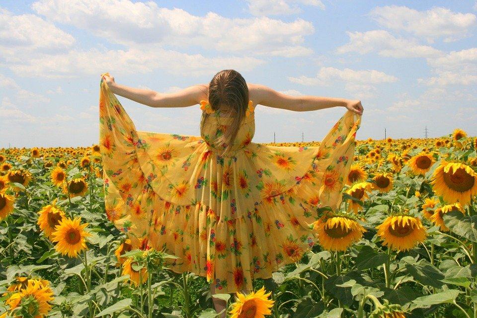 해바라기, 소녀, 드레스, 노란색