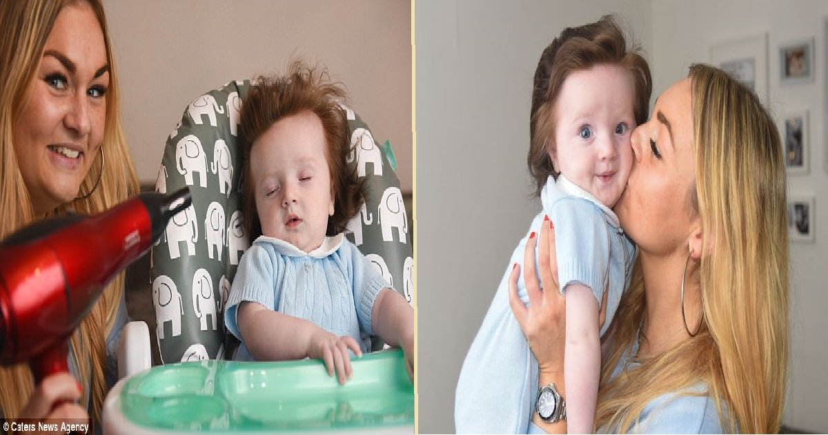 thumb nail baby - Baby Born With Full Head Of Black Hair, 5 Months Later The Hair Is Long-Thick And Red!