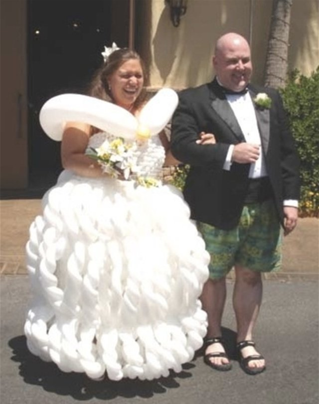 worse wedding dress 11 horrendous ugly wedding dress fail balloon gown - 16 Brides Who Really Should Have Said 'No' To Their Wedding Dress