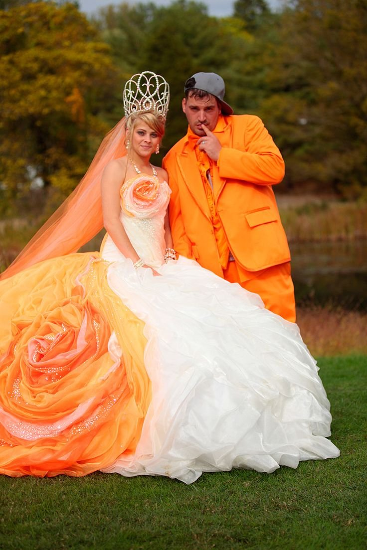 worse wedding dress 1897921e118e0840f50cb9b7fb628f49  orange wedding dresses orange weddings - 16 Brides Who Really Should Have Said 'No' To Their Wedding Dress