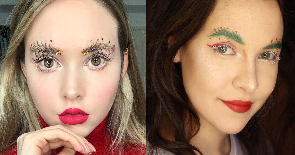 yuyuyuu.png?resize=1200,630 - Confira a mais nova tendência para o natal: sobrancelhas decoradas!