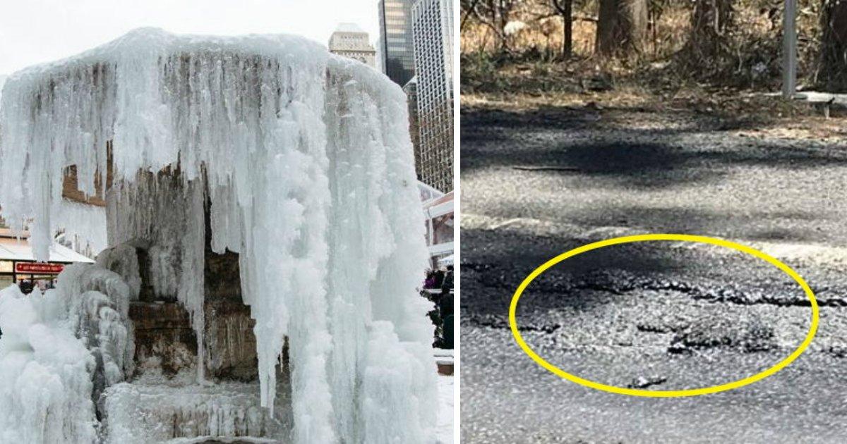 1 195.jpg?resize=648,365 - 한쪽에선 분수가 얼고, 한쪽에선 도로가 뜨거워 녹아내리고...지구가 '뿔났다'