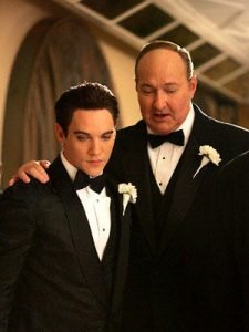"""caption: Elvis Presley (Jonathan Rhys Meyers) and """"Colonel"""" Tom Parker (Randy Quaid) on Presley's wedding day, in ELVIS, a four-hour mini-series which will be broadcast as the """"CBS Sunday Movie,"""" Sunday, May 8 (9:00-11:00 p.m. ET/PT) and Wednesday, May 11 (8:00-10:00 p.m. ET/PT) on the CBS Television Network. Photo: Monty Brinton/CBS ©2005 CBS Broadcasting Inc. All Rights Reserved copyright:"""