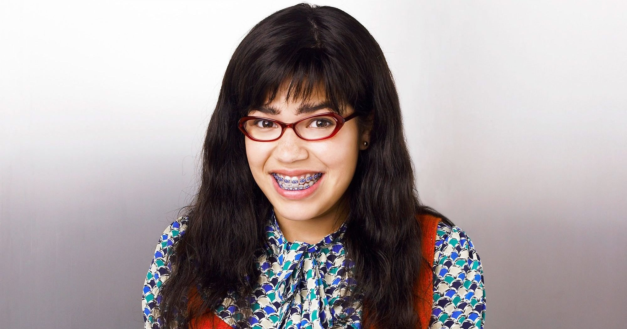 "STR  1941D918 UGLY BETTY - ABC Television Network's ""Ugly Betty"" stars America Ferrera as Betty Suarez. (ABC/ANDREW ECCLES) 107151_D_0683 American Broadcasting Companies,   © 2006 American Broadcasting Companies, Inc. All rights reserved. NO ARCHIVING. NO RESALE.  STR AMERICA FERRERA"