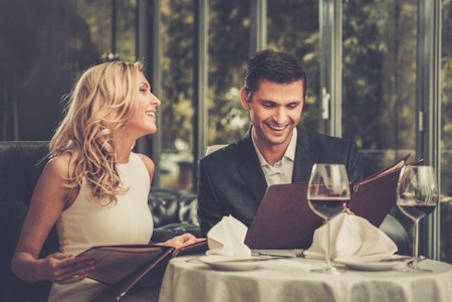 30356531 - cheerful couple with menu in a restaurant